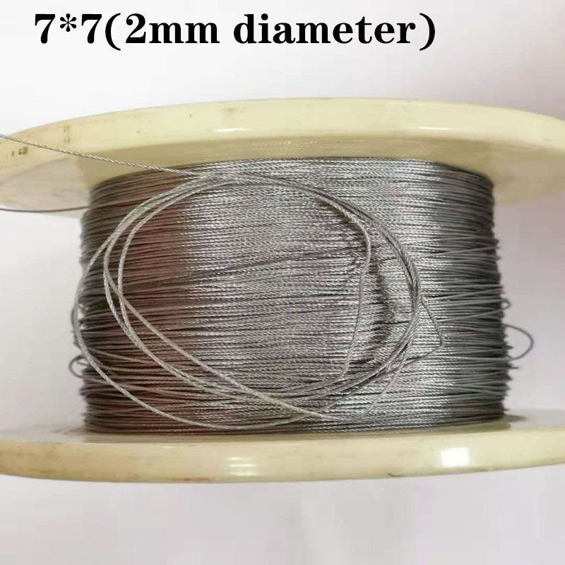 100M 304 2mm Diameter Stainless Steel Wire Rope Cable Softer Fishing Lifting Cable 7X7 Structure 2mm Diameter