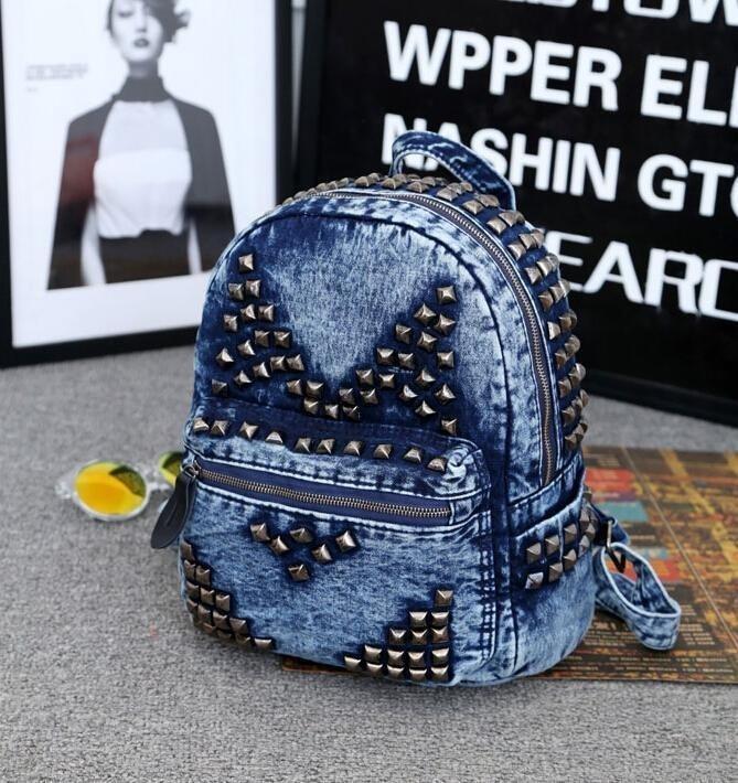 Fashion font b Women s b font Stud Canvas font b Backpack b font Rivets Bookbags