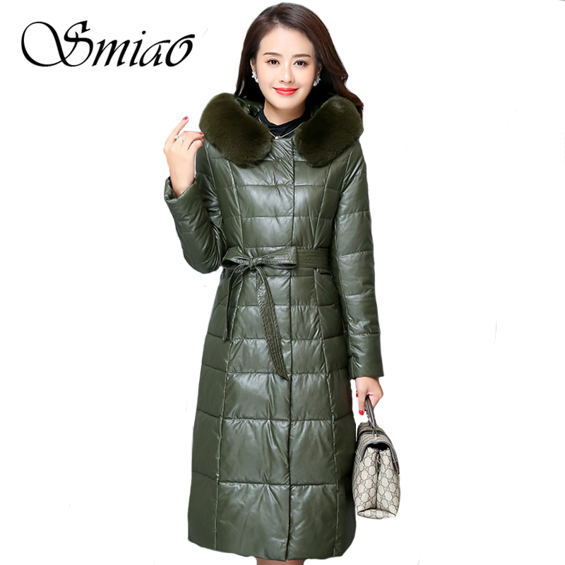 2018 Fashion Ladies   Leather   Jacket Winter Long Cotton Down Jacket Elegance Plus Size 6XL Hooded Coat Warm Women Parkas Outwear