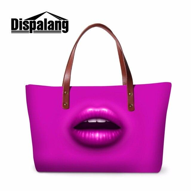 Dispalang female shoulder bags solid handbag insert organizer 4 color sexy lips pattern tote cross body bag ladies hand bags