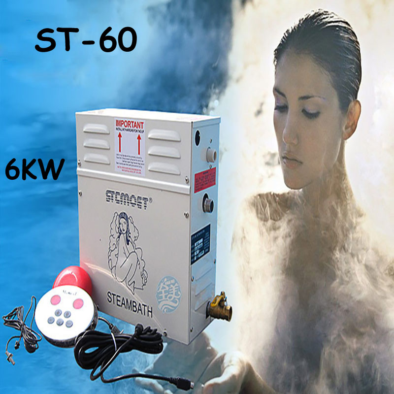 6KW Steam Sauna with Steam Generator 220V Household Steam Bath Machine for Relax Spa Room Digital Controller ST-60 3kw ce rohs certified steam bath generator for steam room