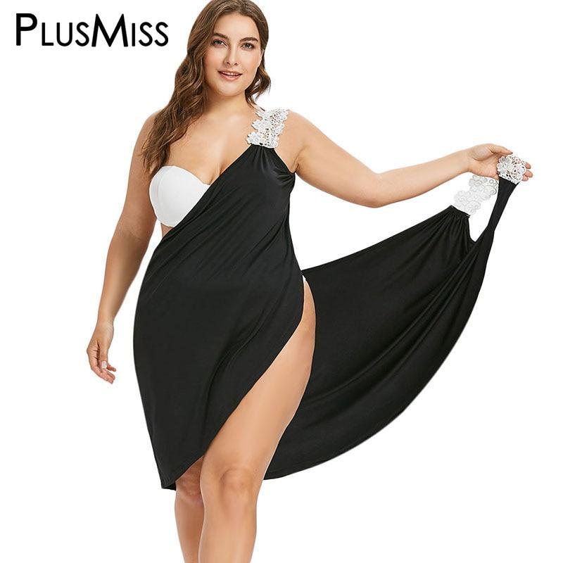 ce0e5c4aa828c PlusMiss Plus Size 5XL 4XL Lace Spaghetti Strap Wrap Beach Mini Short Dress  Summer 2018 Black Boho Backless Dress Sundress Women