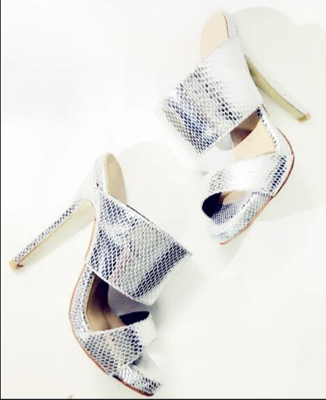 Ladies high heel slippers with open toe women slippers Summer sliver and gold shoes outside dress and casual shoes glitter shoes