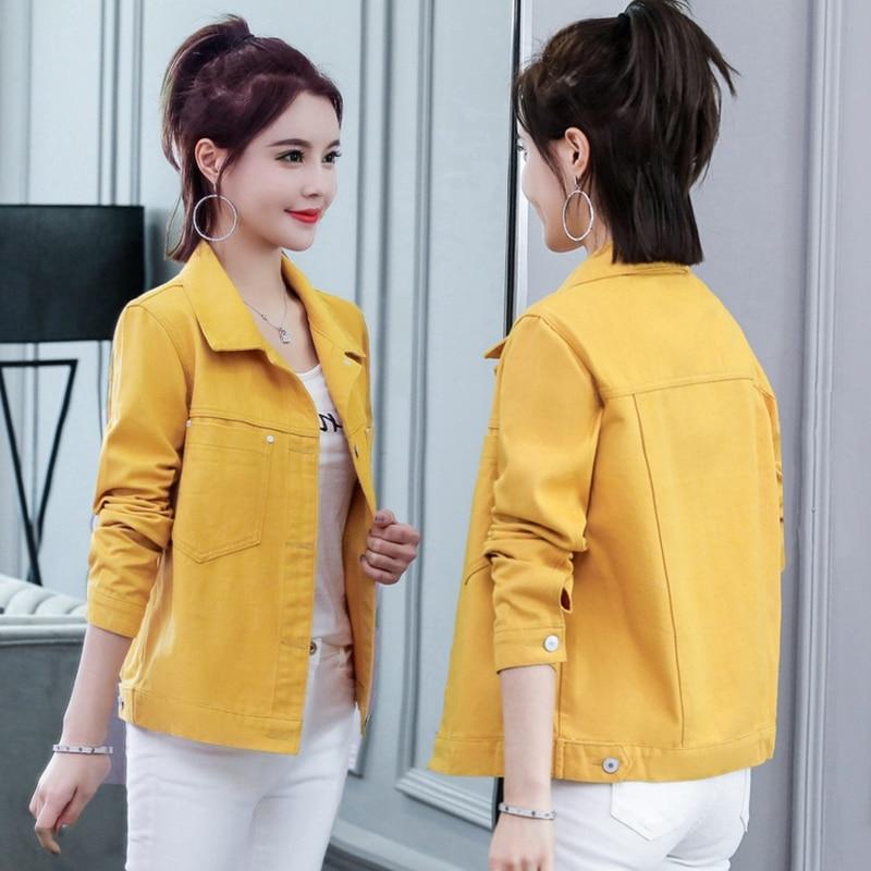 Denim Jacket 2019 Autumn Women Jacket Harajuku Fashion Slim Basic Coat Female Vintage Jean Jackets Casual Denim Jacket Red Black 4