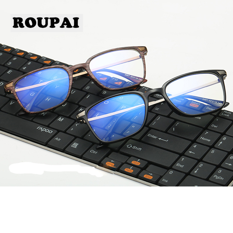 ROUPAI Retro Transparent Glasses Frame TR90 Eyeglasses Computer Blue Light Filter Women Man Gaming Nerd Spectacle Frames China