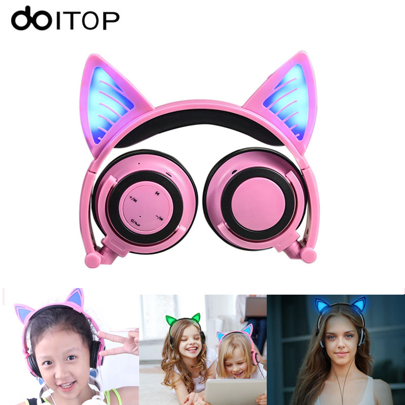 DOITOP Child's Headset Flashing Cute Cat Ear Headphones Gaming Headset Wired Earphone with LED light For PC Laptop Smartphones maoxin cute cat head finger grip metal ring kickstand for smartphones blue cats