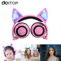 DOITOP Child S Headset Flashing Cute Cat Ear Headphones Gaming Headset Wired Earphone With LED Light