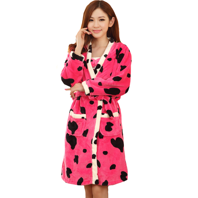 Hot New Design Fashion Cute Flannel Free Shipping Lady 2PCS Women Sofa Sets Strap Robes Winter Warm Butterfly Dress