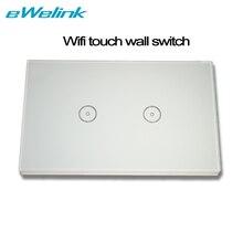 NOUS 2 gang WIFI Mur tactile Commutateur intelligent télécommande par téléphone APP turn on/off Interrupteur Tactile compatible avec Amazon Alexa