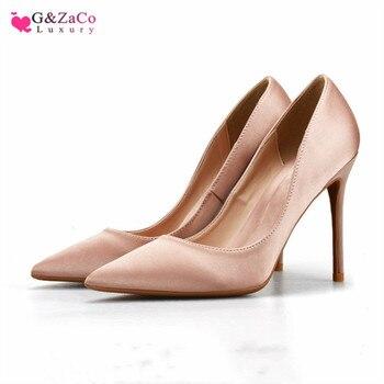 646ce5e2308 G & Zaco primavera seda tacones altos zapatos de mujer Punta Delgada tacón  satinado elegante bombas desnudo negro tacón alto moda mujer zapato 33