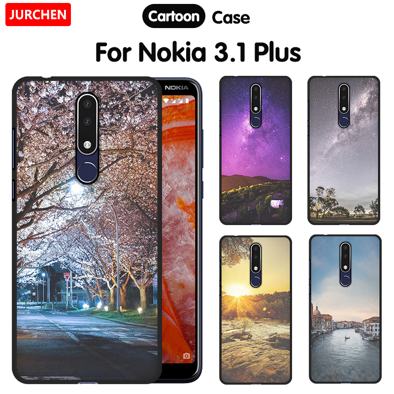 US $1 47 54% OFF|JURCHEN Soft Silicone TPU Protective For Nokia 3 1 Plus  2018 Case Tree River Printing Mobile Phone Case For Nokia 3 1 2018 Cover-in