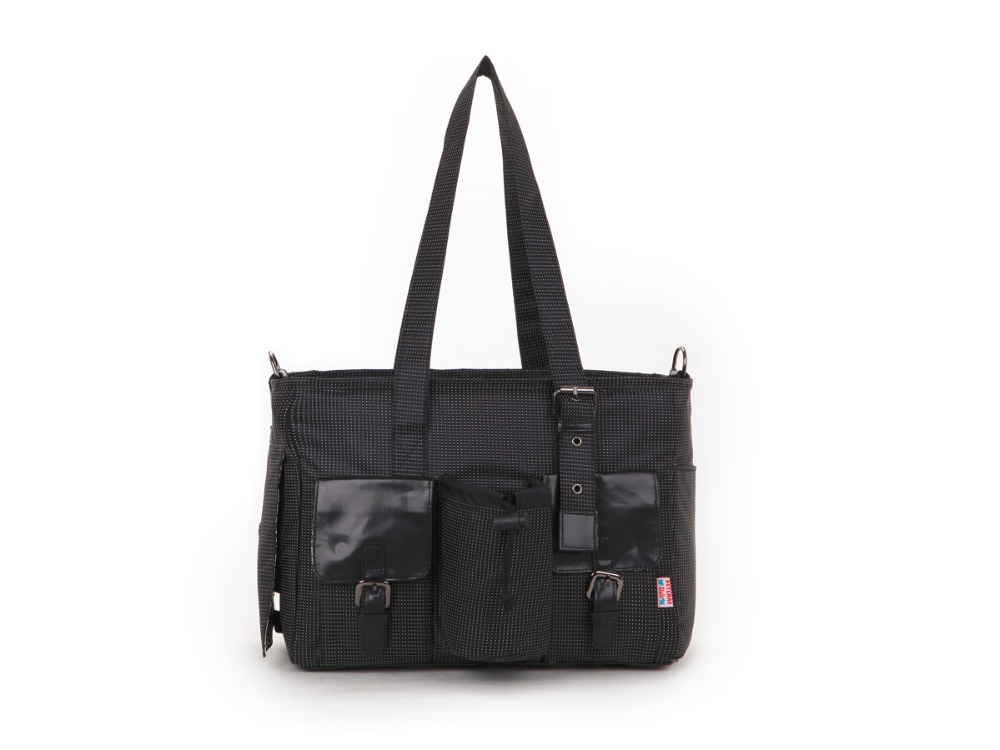 Black Jacquard Nylon Pet Dogs Carrier Bag With Two Pocket In Front Fashion Small Puppy Dogs