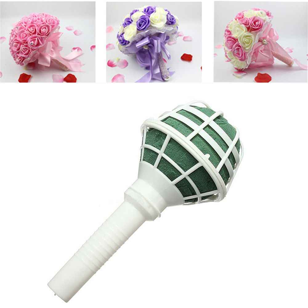 1 pc DIY Wedding Bridal Rose Floral Bouquet Handle Flower Holder Decoration Gadgets Wedding Supplies