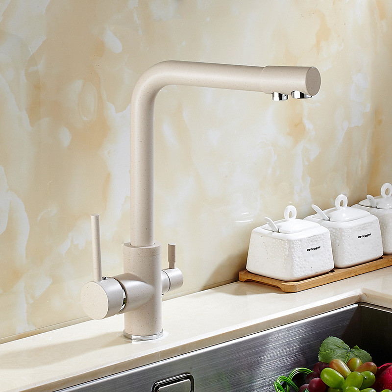 Kitchen Quartz, All Copper Faucet Sink Dish Basin Hot And Cold Two In One  Water Faucet 360 Degree Single Hole