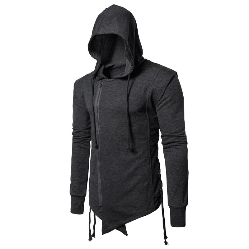 New Spring Mens Sweatshirt Side Drawstring Solid Zipper Lapel Jacket Men Hooded Long Sleeve Hoodie Coat M-XXXL