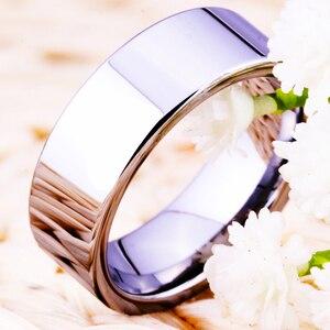 Image 2 - Hot sprzedaży 8MM szerokość klasyczna obrączka obrączki srebrne rury darmowe grawerowanie wolframu pierścienie węglikowe dla kobiet męska pierścień