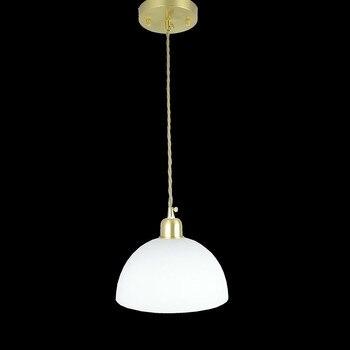 D200mm половинный белый стеклянный шар тканевый абажур Проводная Подвесная лампа приспособление латунная прямая современная домашняя подсве...