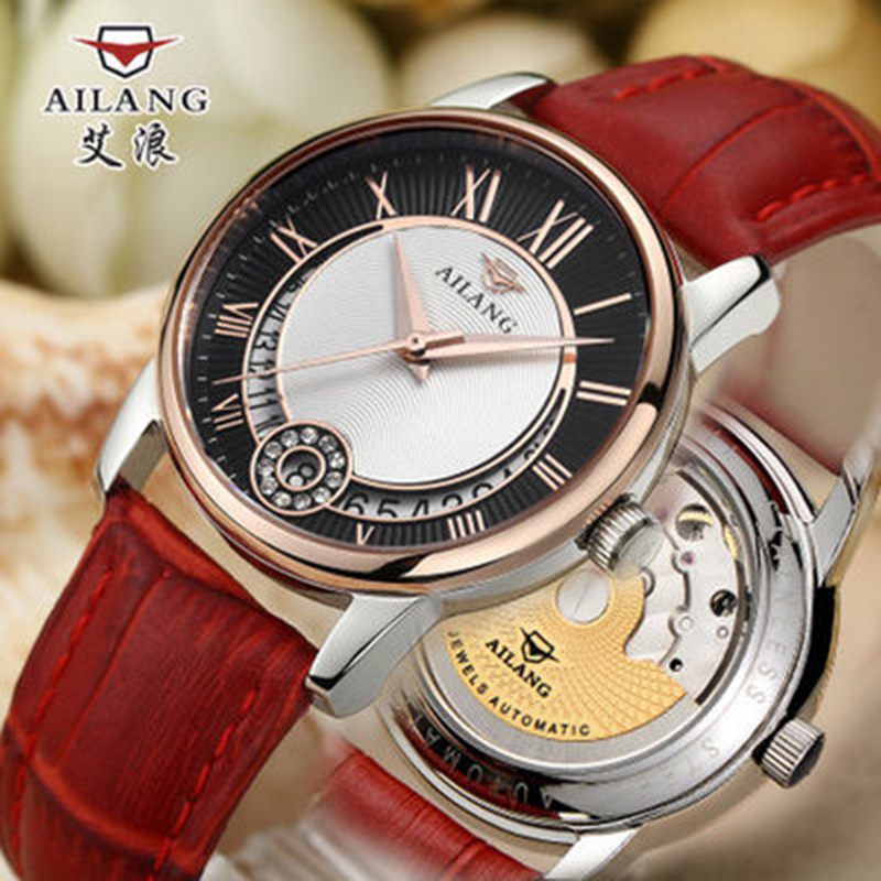 Authentic Ai waves watch ladies real trendy fashion watch waterproof Korean version of the automatic mechanical watch female for ultra thin watch male student korean version of the simple fashion trend fashion watch waterproof leather watch men s watch quar