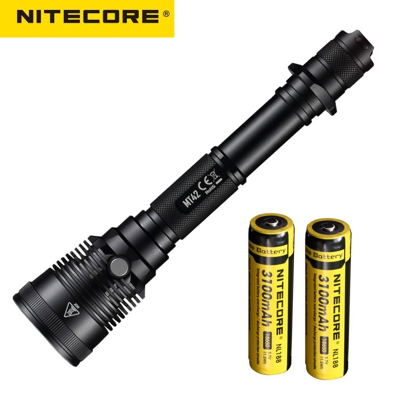 NITECORE MT42 LED Flashlight CREE XHP35 HD LED Flashlight 1800 lumens by 3100 mah Battery for Outdoor Hunting Flashlight cagie vintage mini libreta notebook women flowers printing faux leather diary journal pocket filofax a6 travelers notebooks