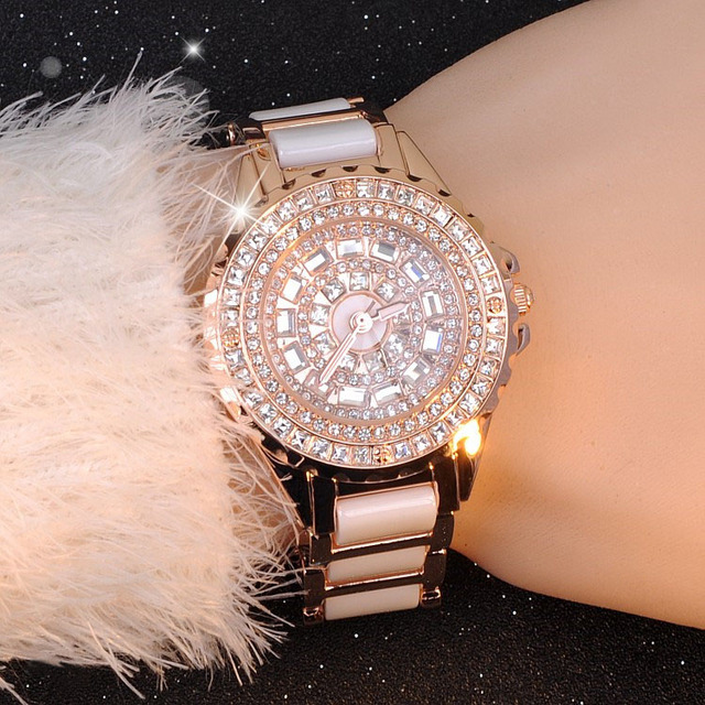 2016 NEW women fashion gold watch luxury crystal diamond Bracelet Watch reloj Ce