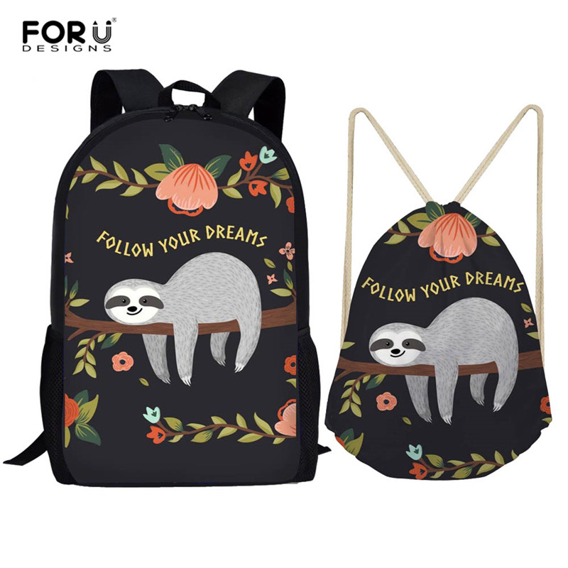 FORUDESIGNS 2pcs/set Backpack Women Cute Sloth Print Backpacks Students School Bags For Teenage Girls Mochila Feminina Sac A Dos