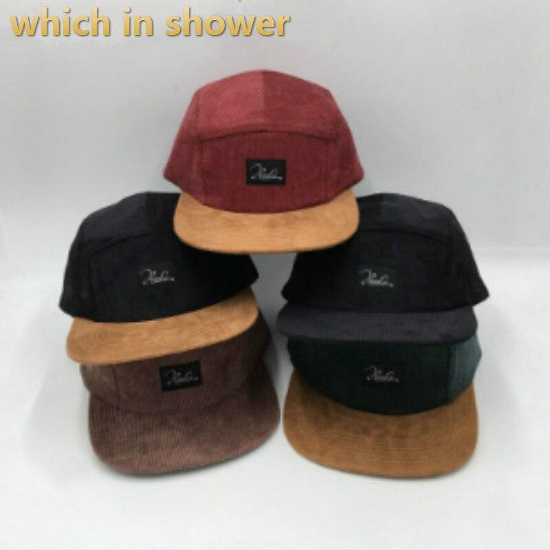 corduroy hip hop cap for women men adjustable short brim baseball cap solid spring autumn male 5 panel cap five panel bone