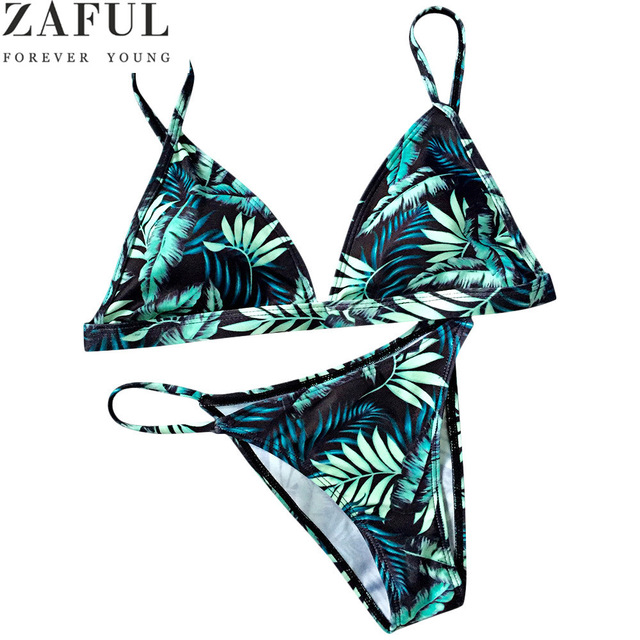 ZAFUL 2017 Swimwear Women Sexy Micro Bikinis Set Brazilian Bikini Swimsuit Leaf Print Maillot De Bain Femme Bathing Suit Biquini
