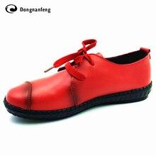 แฟลตของผู้หญิงรองเท้าหนังหญิงแพลตฟอร์มผู้หญิงลื่นS Apatos Femininoลูกไม้ขึ้นรองเท้าสบายเท้ารอบ4สีบู๊ทส์DNF912
