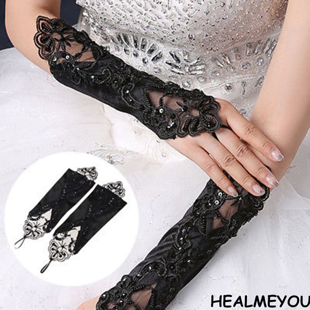 HEALMEYOU Black Lace Long Gloves Stretch Fingerless Embroidered Evening Wedding Gloves