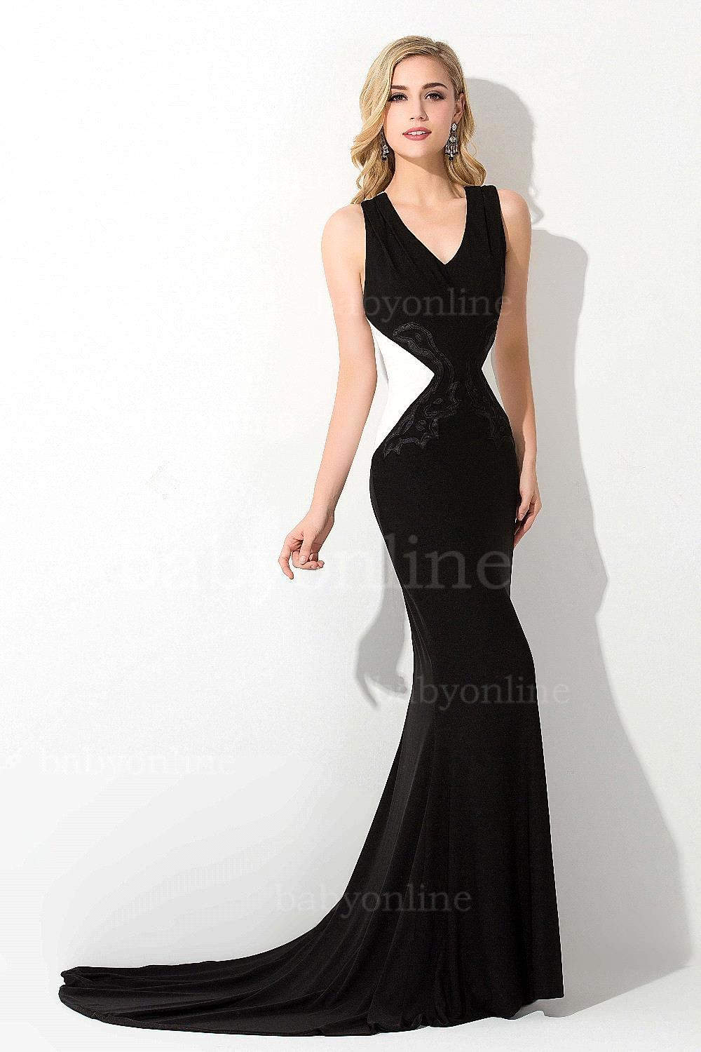 Formal Black And White Evening Gowns Backless Mermaid Evening Dress ...