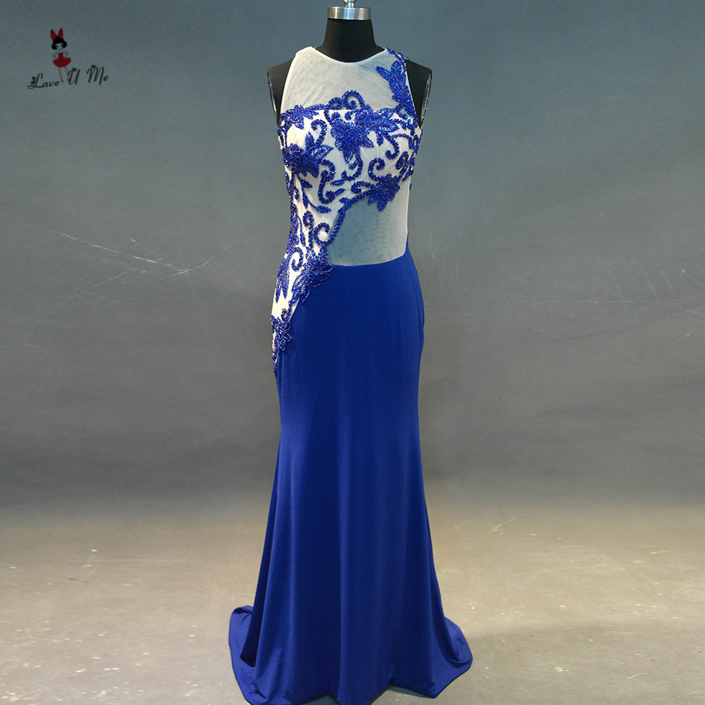 Weddings & Events Vestido De Noche Abendkleider 2017 Luxury Royal Blue Evening Dresses Long Mermaid Beads Elegant Prom Dress Special Occasion Gown Selected Material