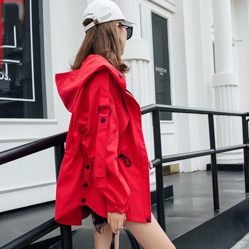 Zipper Capuchon red Solide Longues Rouge Décontracté Poches V534 Mode À Manteaux Beige Outwear Manches Femmes Veste 2019 Printemps Automne Coupe vent xRwvFpIq