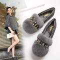 42 43 Large Size Soft Comfortable Women Flats Winter Flat Shoes 2017 Real Rubber Fur Winter Loafer Slip on Casual Women Shoes