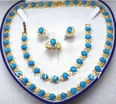 Selling Jewelry>>>Beautiful Turquoises Necklace/Bracelet/Ring/Earring Set new beautiful pink crystal necklace bracelet earring ring set aa265