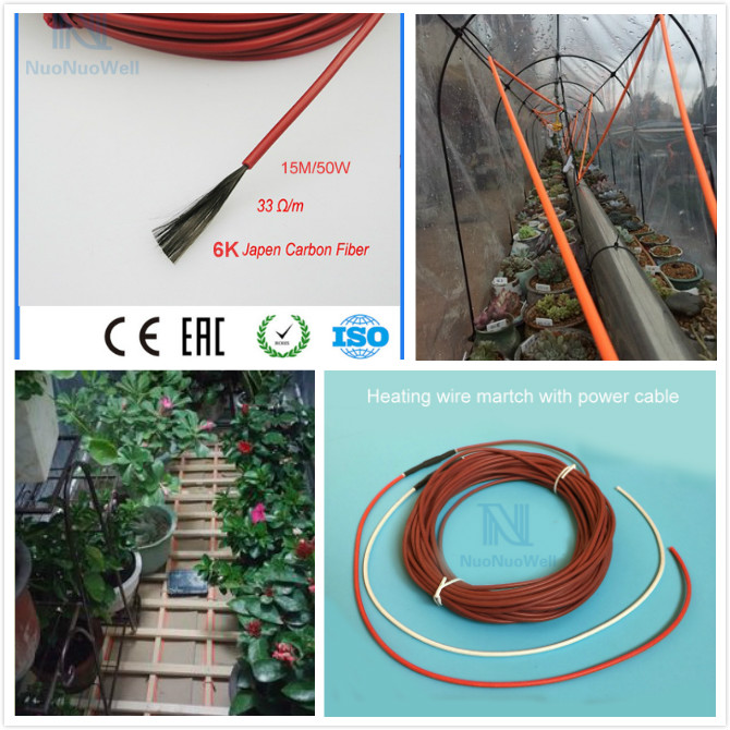 Carbon Fiber Heating Wire Greenhouse Temperature Controll Underfloor Heating Cable 15m 6k 33 Ohm