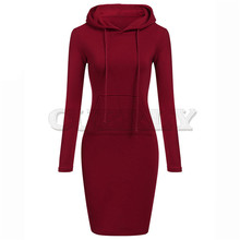 CUERLY summer dress Women plus szie Long Sleeve Solid Patchwork O Neck Hooded women Dress casual sexy CUERLYestido