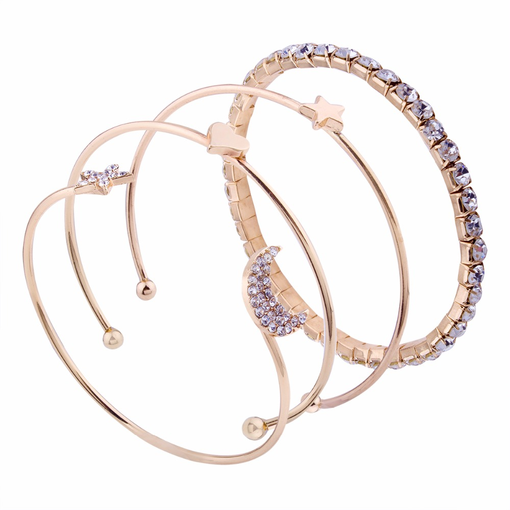 Japanese and Korean style girls small fresh versatile accessories simple stars moon love open bracelet four sets