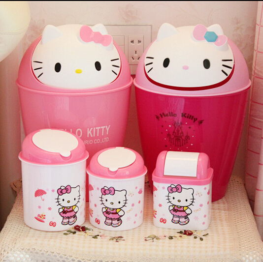 NEW Lovely Hello Kitty Flip Top Trash Can Table Top Plastic Garbage Bin For  Office And Home Use In Waste Bins From Home U0026 Garden On Aliexpress.com |  Alibaba ...