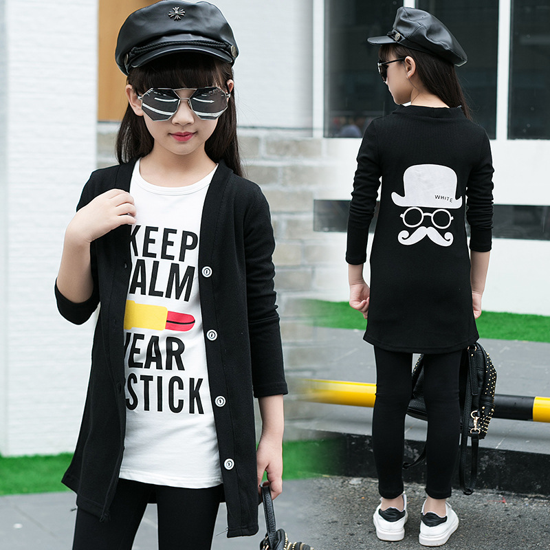 2016 new Autumn Cotton long sleeve Cartoon beard Girl suit 5 6 7 8 10 12 14 16 year Korean children Suit girl clothes cheapest  10 items  5 suit clothes   5