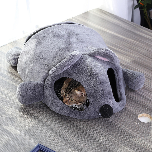 Grey Mouse Shape Bed For Small Cats Dogs Cave Bed Removable Cushion,Waterproof Bottom Cat House Mouse For Cats Pet Products  4