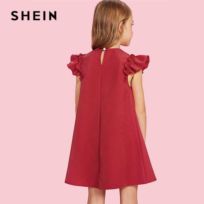 Shein Rojo De Asos Trapecio Navidad Niña Vestido De Fiesta Las Niñas Ropa 2019 Verde De Moda Coreana De Los Niños Vestidos De Niñas