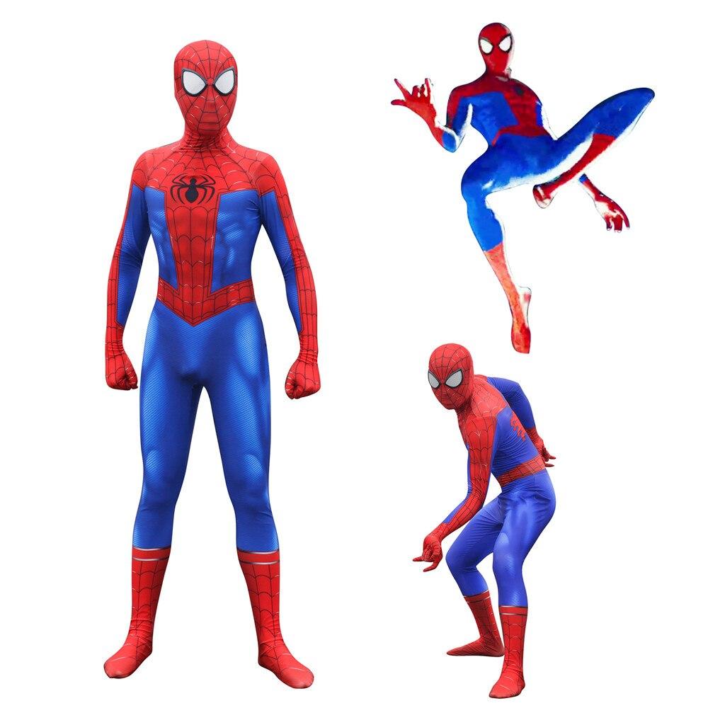 Spider-Man Into the Spider-Verse Peter Benjamin Parke Cosplay Costume Zentai Spiderman hero Pattern Bodysuit Suit Jumpsuits