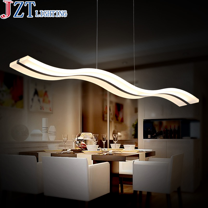 ZYY Arylic Stepless Dimming Led Pendant Light L97*W12*H1.5cm Wavy White Meal Lighting 20W/38W Remote Control Restaurant Lamps ...