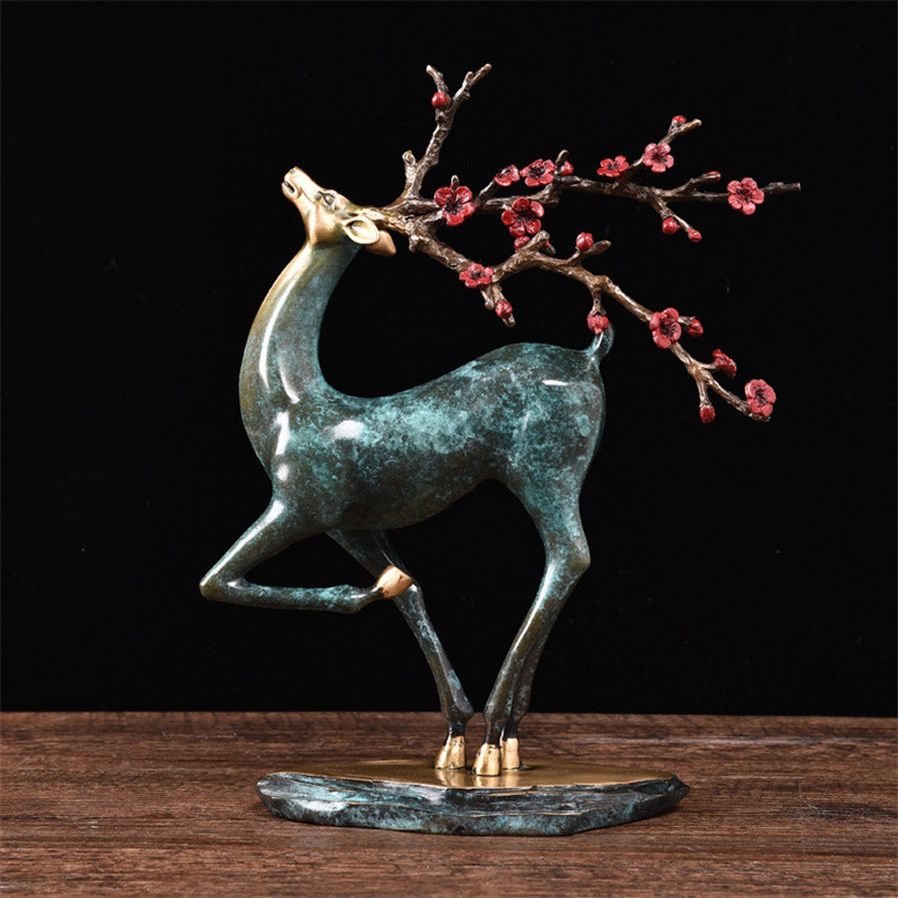 Home Office Ktv Bar Club Decoration Sika Deer Bronze Statue Vintage Craft Sculpture Resin Figurine Easter Festival Gift OrnamentHome Office Ktv Bar Club Decoration Sika Deer Bronze Statue Vintage Craft Sculpture Resin Figurine Easter Festival Gift Ornament
