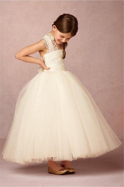 Elegant 2019   Flower     Girl     Dresses   For Weddings Ball Gown Tulle Lace Bow Baby Long First Communion   Dresses   For Little   Girls