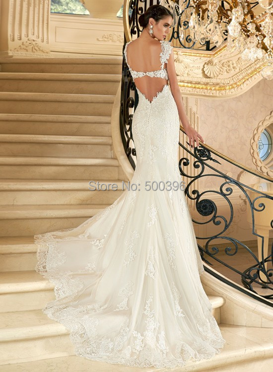 Sexy Mermaid Backless Wedding Dress 2016 V Neck Lace Applique ...