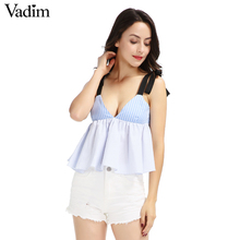 Vadim women sexy deep V neck striped camis shirt adjustable strap bow sleeveless pleated shirts summer casual tops WT435