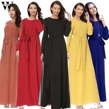 ddcc56b97 Womail musulmana vestido de las mujeres vestido islámico Abaya de manga  larga cintura Chiffon elegante musulmanes
