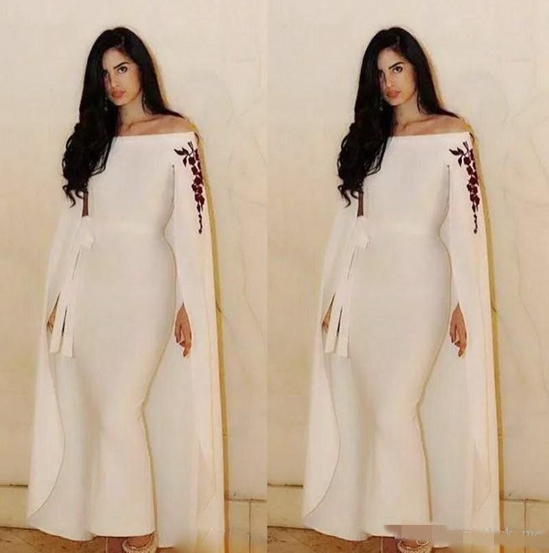 Saoudien arabe sirène robes de soirée avec Cape/enveloppes ceinture ruban cheville longueur robe de bal personnalisé hors de l'épaule robes de bal