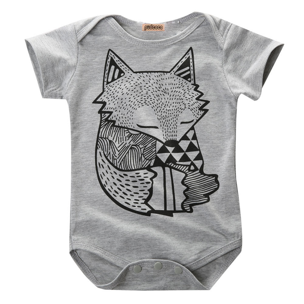 Toddler Baby Boys Girls Newborn FOX Jumpsuit Bodysuit Outfits Clothes 0-24M